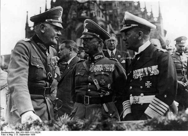 Field Marshal von Blomberg, Colonel General von Fritsch, and Admiral Raeder at the main market area of Nürnberg, Germany during a Nazi rally, 13 Sep 1936